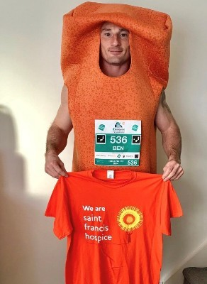 Ben in his fish finger costume for Brentwood Half