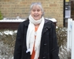 Ann Dalgliesh outside the hospice (cropped)